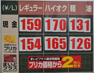 10月11にupしたガソリン価格